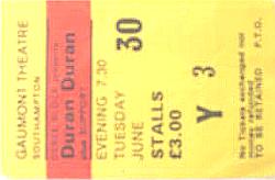 Ticket duran gaunmont southhampton 30 june 8182