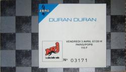 Ticket wikipedia Duran Duran ticket Paris 1987