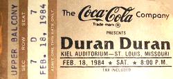Ticket duran duran 18 feb 1984