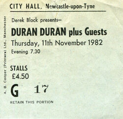 City Hall Newcastle (UK) - 11 November ticket stub wikipedia duran duran com
