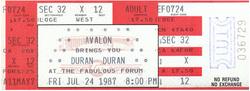 Ticket event Great Western Forum, Inglewood, Los Angeles, CA (USA) - 24 July 1987 duran duran rolling stones