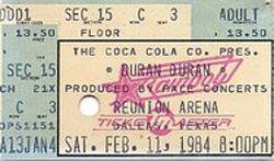 Ticket stub Reunion Arena Dallas, Texas. wikipedia duran duran