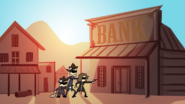 Bank being robbed