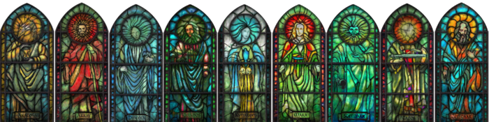 Nine Divines Stained Glass