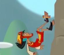 Kuzco plummeting to his death off Kuzco Academy.