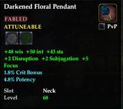 Darkened Floral Pendant