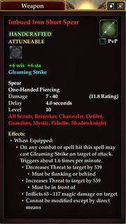 Imbued Iron Short Spear