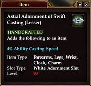 Astral Adornment of Swift Casting (Lesser)