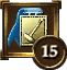 Icon Achievement ribbon blue rect gold hammer 15