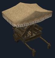 A merchant display cart (Visible)