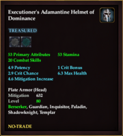 Executioner's Adamantine Helmet of Dominance
