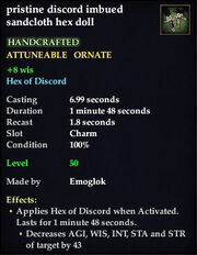 Discord imbued sandcloth hex doll