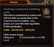 Ironforge ceremonial smithing pants