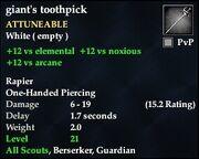 Giant's toothpick