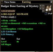 Badger Bone Earring of Mystery