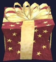 Fancy red and gold prefabricated gift box (Visible)
