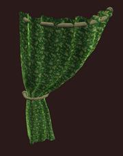 Flowered Green Curtain Left