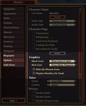 Character Window Options Tab Highlighted