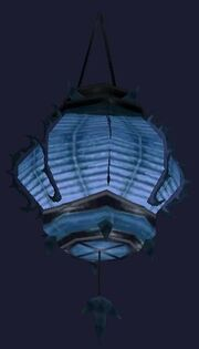 Swaying blue paper lantern (Visible)