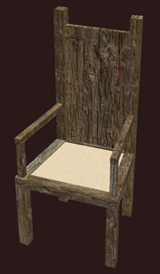 A pristine elm dining chair (Visible)