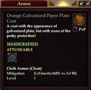 Orange Galvanized Paper Plate Coat