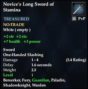 Novice's Long Sword of Stamina