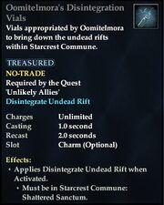 Oomitelmora's Disintegration Vials