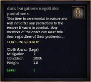 Dark bargainers negotiator pantaloons