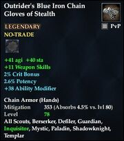 Outrider's Blue Iron Chain Gloves of Stealth