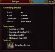Recording Device (Recipe)
