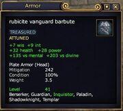 Rubicite vanguard barbute examined