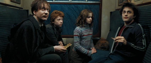 Lupin con Hermione, Ron, Crookshanks y Harry en el tren.png