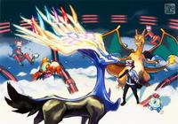 Ilustración de Xerneas en la base del Team Flare
