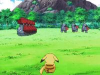 EP581 Pikachu mirando los Probopass y Nosepass