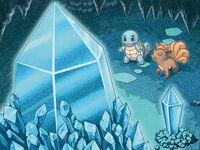 Ilustración de Squirtle y Vulpix en la cueva Cristal en MM