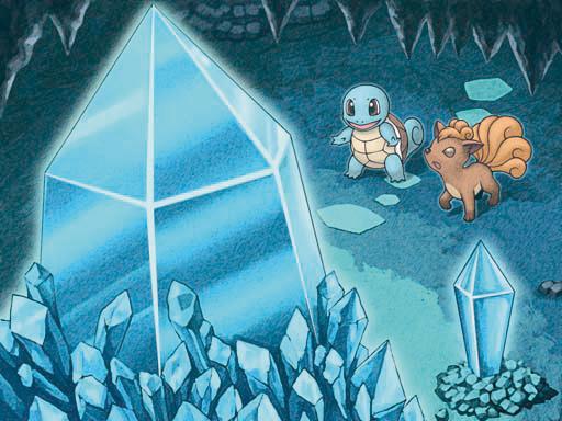 Archivo:Ilustración de Squirtle y Vulpix en la cueva Cristal en MM.jpg