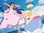 EP258 Dorian haciendo su espectáculo junto a sus Pokémon
