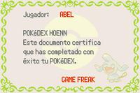 Diploma Pokédex Hoenn E