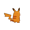 Imagen posterior de Pikachu variocolor hembra en la sexta generación