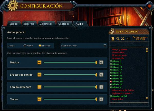 """Interfaz """"Audio"""" de Configuración."""