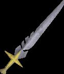 Una imgen detallada de una Saradomin sword.