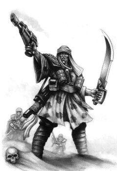 Guardia imperial incursores desierto Tallarn BN.jpg