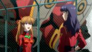 Asuka meeting Misato (Rebuild)