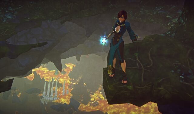 File:Human wizard destroys cave floor and discovers a magma chamber far below.jpg