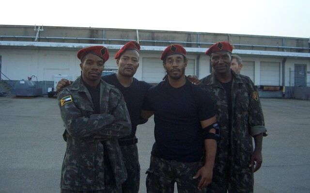 File:Expendables- Precious Garrett, Mark Hicks, Lateef Crowder & unknown as Palace Guards.jpg