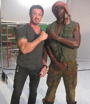 Expendables BTS- pirate actor Everton Lawrence with director and star Sylvester Stallone
