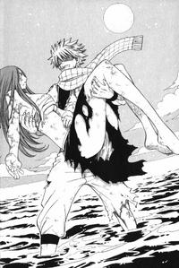 Natsu saves Erza (manga)