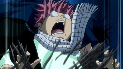 Natsu falls into Lucy's trap