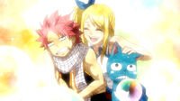 Lucy thanking Natsu and Happy