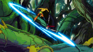 Azuma dodges the attack of Erza